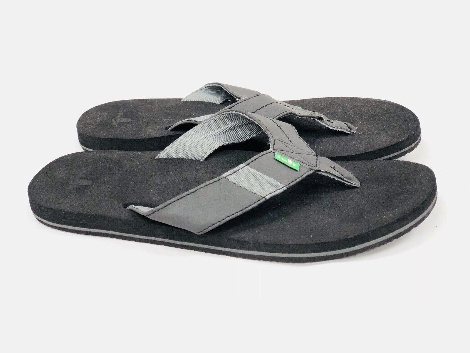 Sanuk Men's Jet Stream Flip Flop Black SSMS10544 Slip On Yoga Mat Cushioning New