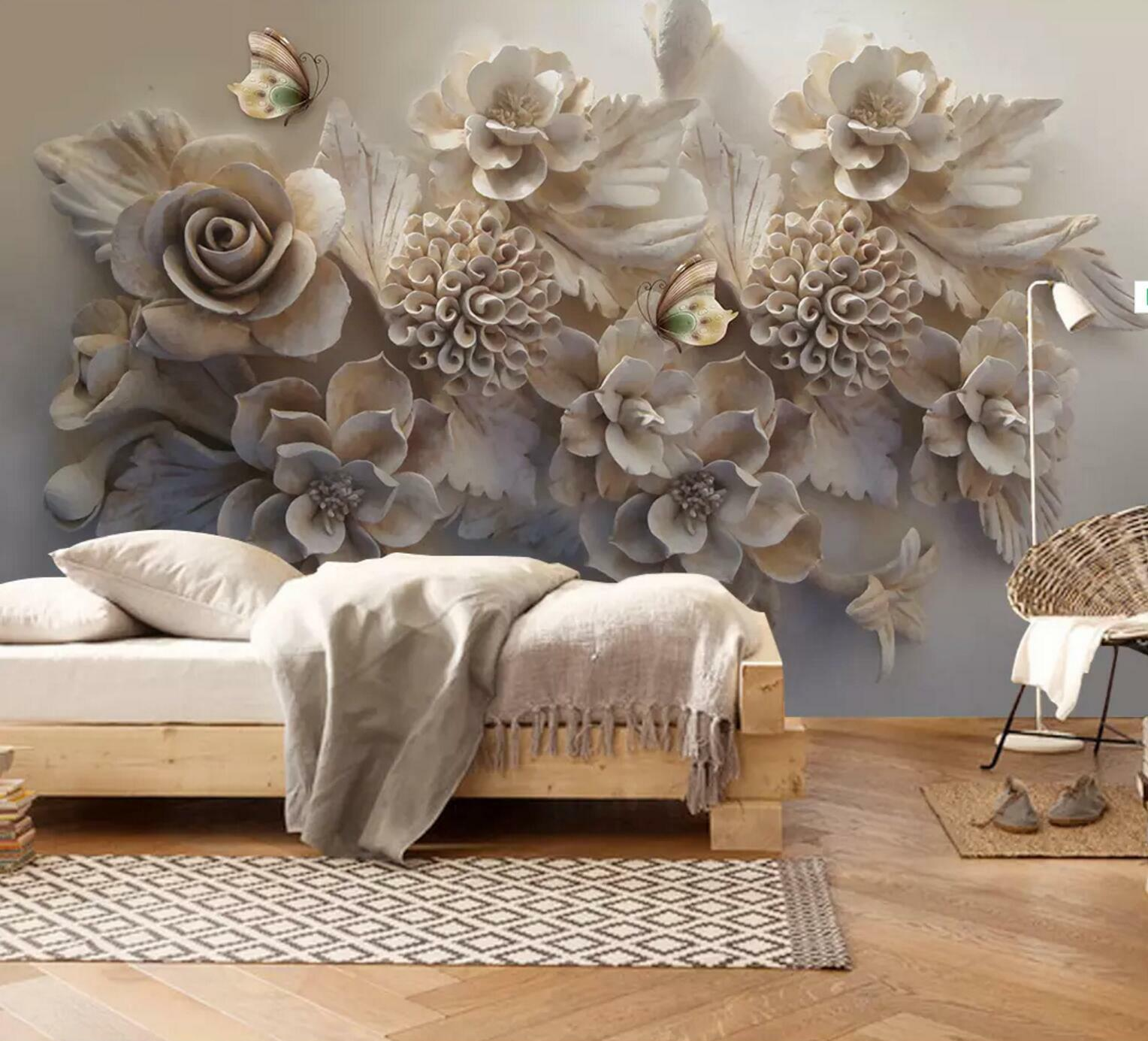 3D Butterfly Flowers  6 Wall Paper Exclusive MXY Wallpaper Mural Decal Indoor AJ