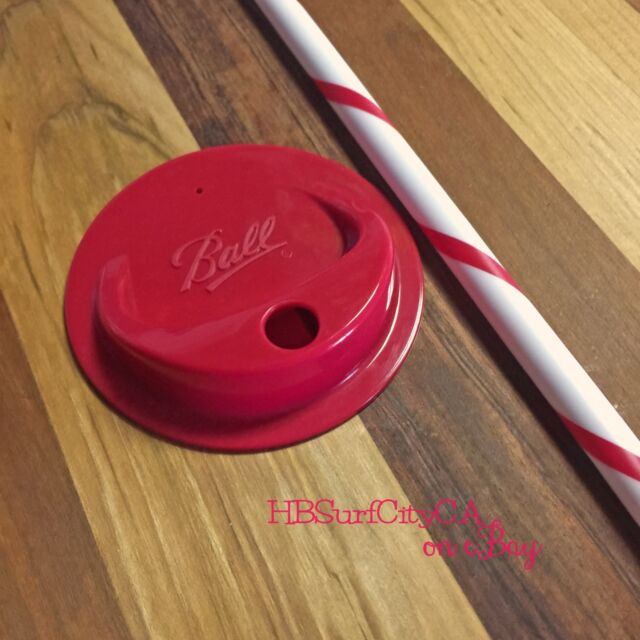 Red Ball brand Mason Jar Plastic Drinking Lid & Straw BPA Free Drink Wide Mouth