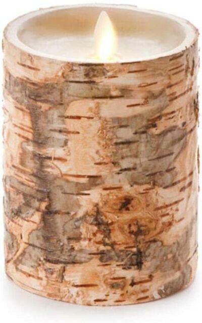 Luminara Unscented Flameless Pillar Candle Embedded W Birch Bark 4 X 7 In For Sale Online Ebay