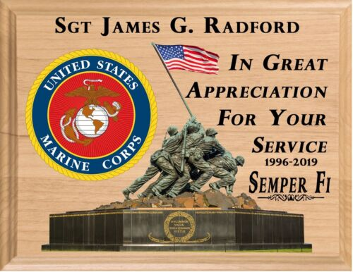 MARINE RETIREMENT Plaque PERSONALIZED USMC Marine Corps Service Appreciation