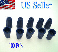 100x Blue Wire Connector Twist Nut Electrical 21-18 Gauge Awg Auto & Home