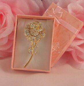 BOXED GOLD PLATED DIAMANTE CRYSTAL ROSE FLOWER BROOCH PIN - <span itemprop='availableAtOrFrom'>NOTTINGHAM, Nottinghamshire, United Kingdom</span> - If you have any problems with your purchase please contact me before leaving feedback. Damaged items will always be replaced or money refunded however please make cont - <span itemprop='availableAtOrFrom'>NOTTINGHAM, Nottinghamshire, United Kingdom</span>