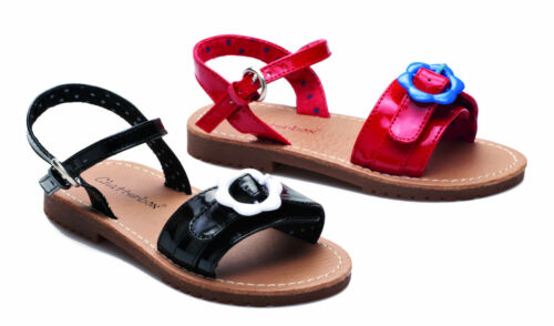 New Girls Infant Chatterbox Summer Flat Patent Flower Buckle Sandals Party Shoes