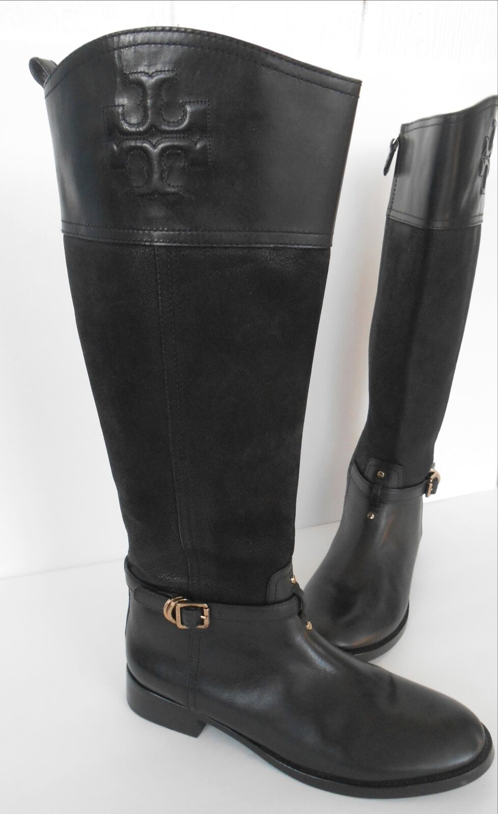Tory Burch Navy Flannel & Black Leather Blaire Riding Boots Sz 9