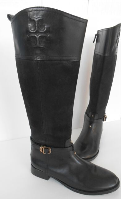 c87e0a381f19e discount code for tory burch navy flannel black leather blaire riding boots  sz 9 bd1b6 a9587