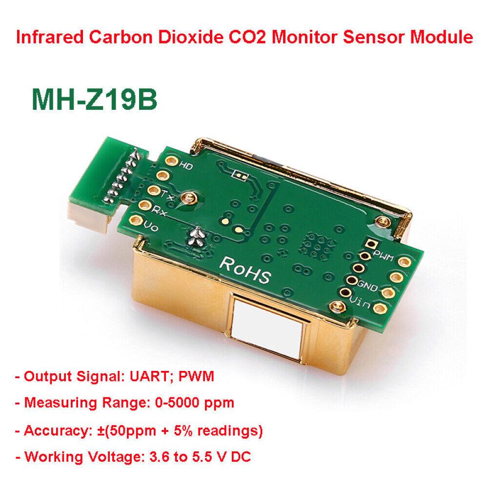 New MH-Z19B Infrared Carbon Dioxide CO2 Monitor Sensor Module UART PWM 0-5000ppm
