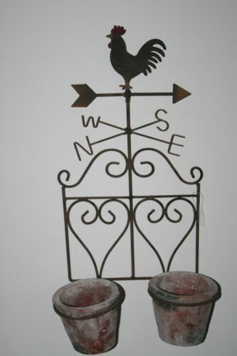 Wetterhahn Landhaus Shabby Wanddeko Wandhalter Blumentopf Übertopf Metall