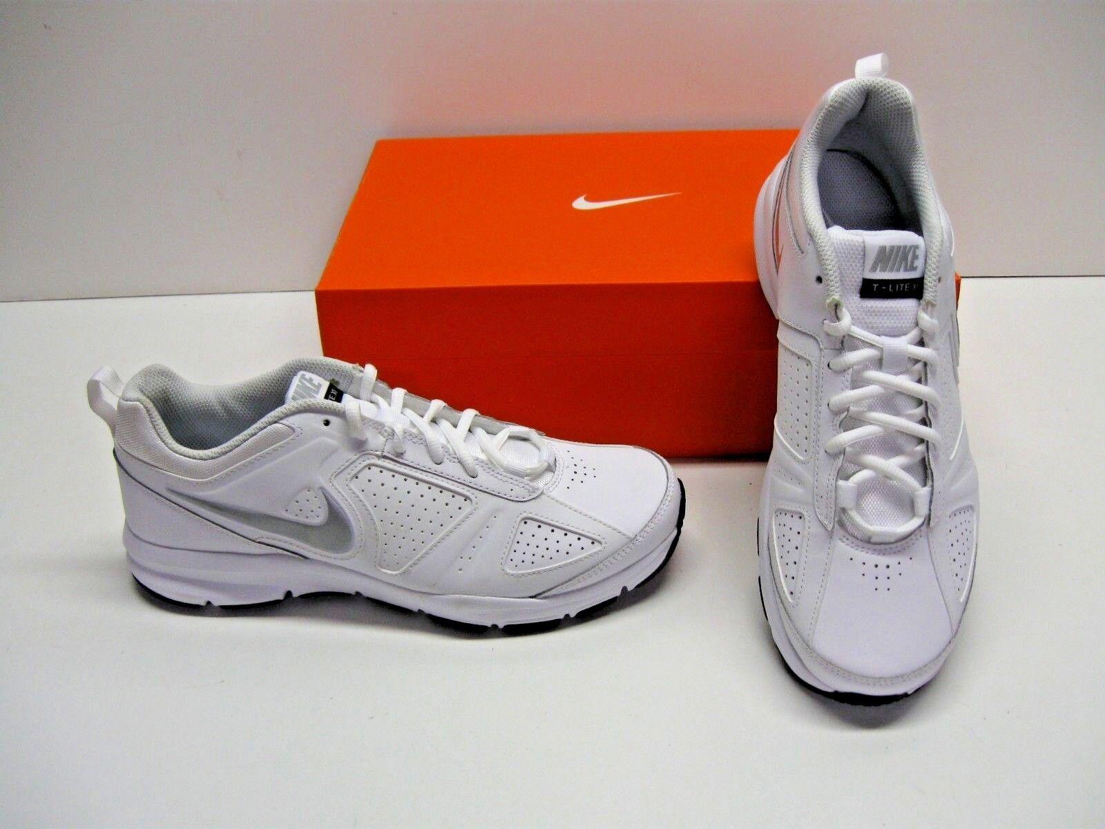 Nike T-Lite XI 11 Running Cross Training White Silver Sneakers Shoes Mens 10.5