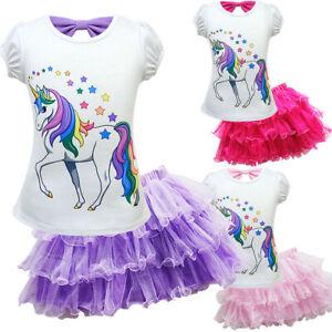 Girls-Unicorn-Princess-Party-Fancy-Dress-Tutu-Skirt-T-Shirt-casual-2pcs-set-ZG9