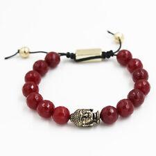 Exotic Gold Buddha Charm Bangle Red Agate Beaded Bracelet Men and Women