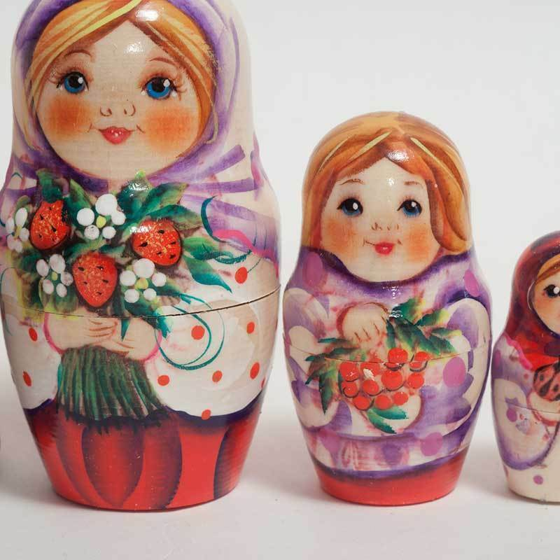 Nesting dolls for Mushrooms kids - Little Russian Boy with Mushrooms for - matryoshka - 278p 035dba