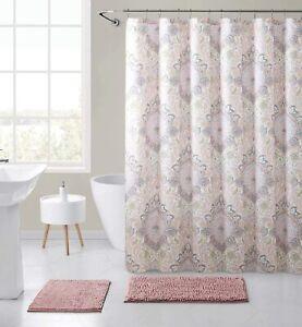 Hudson Essex Floral Damask Fabric Shower Curtain Blush Pink Yellow Grey White Ebay