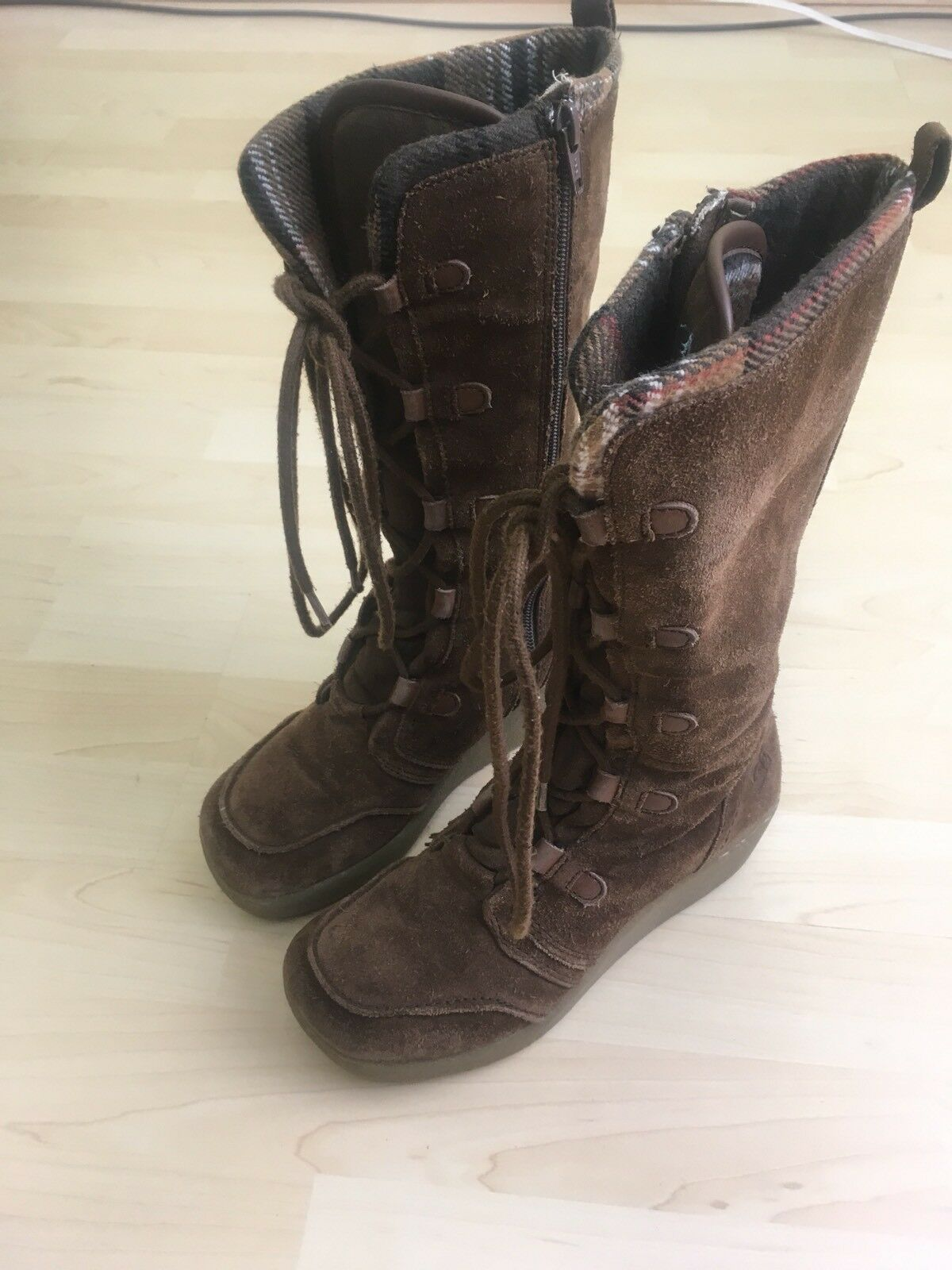 Roxy Women's Sz 6 Timber Boots Tall Brown Leather Side Zipper X457727PK