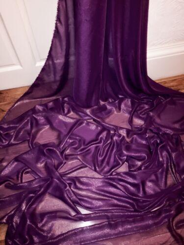 "147cm 1 mtr purple//gold shimmer chiffon dress fabric..58"" wide"