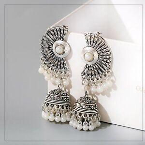 Charm-donna-argento-Boemia-Boho-Antico-ETNICO-INDIANO-Orecchini-a-Goccia-Bell