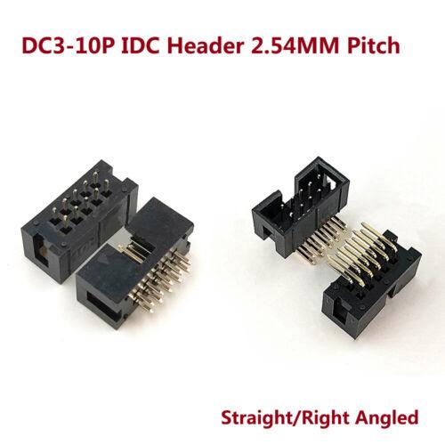 2.54 mm pitch DC3-10P Isolation Déplacement Connecteur Tête Droit//Angle Droit Connecteur ISP JTAG Socket