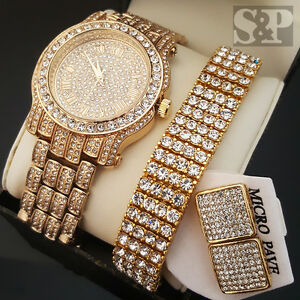 Men Hip Hop Iced Out Gold PT Simulated Diamond WATCH BRACELET