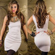 Edles Mini Kleid, Pailletten, Abendkleid , gold/beige, Gr.S/M, NEU