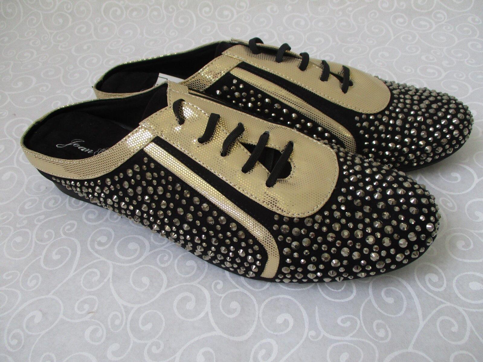 JOAN BOYCE BLACK & GOLD RHINESTONE BEADED Schuhe SIZE 9 1/2 M - NEU