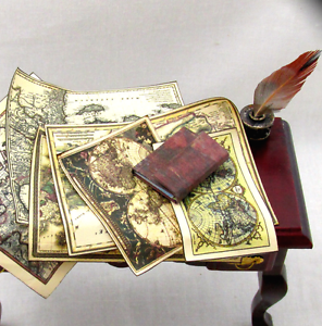 JOURNAL-OF-ANCIENT-MAPS-Colorful-Illustrated-Miniature-Book-Dollhouse-1-12-Scale