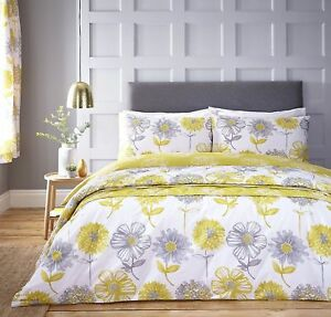 Catherine-Lansfield-Banbury-Floral-Facil-Cuidado-Funda-Nordica-Cama-Set-Amarillo