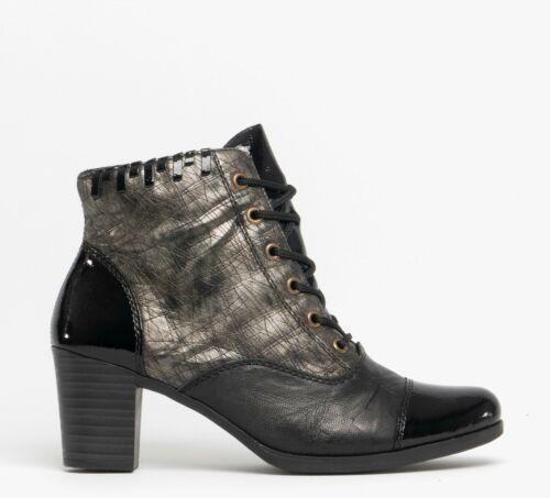 Rieker Y8938-00 d/'hiver femme moderne Bottines à talon bottier noir//OLD SILVER