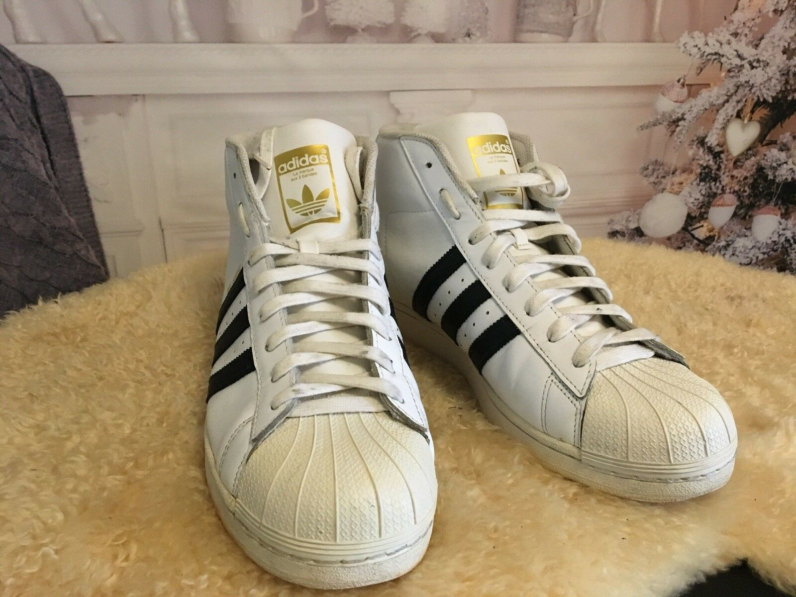 69f38f2d6 ADIDAS Pro Model La Marque Aux 3 Bandes HighTop Sneakers 11 ½ Leather Men s  zohmpz4993-Athletic Shoes