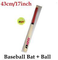 Aqs Wooden Bat With Soft Tennis Ball Light Weight Baseball Kid Game Fun 43cm Set