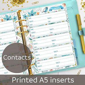 a5 planner inserts contacts a5 refills organizer filofax a5 ebay