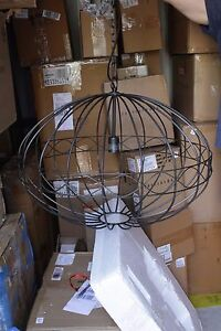 New Pottery Barn Diamond Cage Indoor Outdoor Wire Pendant