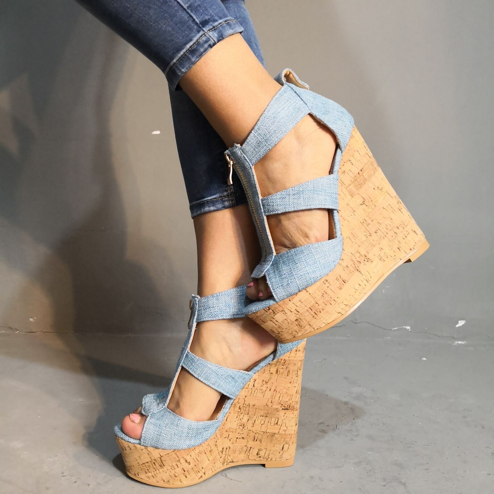 Summer Sexy High Heels Wedge Denim bluee Sandals Pumps Peeptoe Platform shoes