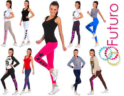 2019 Mode Ladies Full Length Cotton Active Leggings Stars Print Joggers Fitness Pants Lg