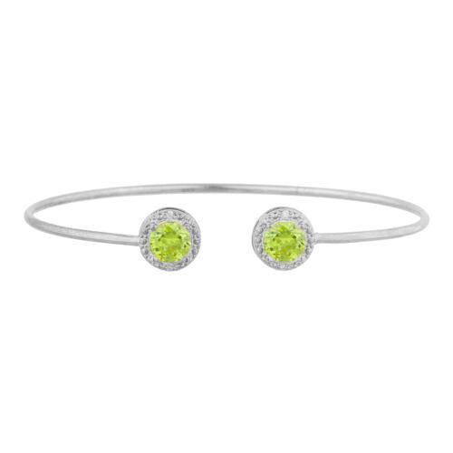 2 ct Péridot /& Diamant Rond Bracelet jonc argent sterling .925
