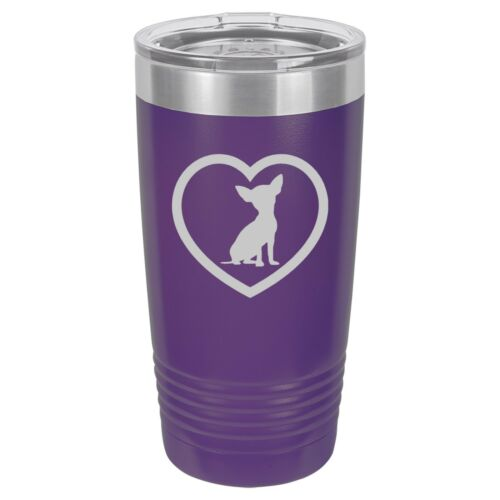 Tumbler 20oz 30oz Travel Mug Cup Vacuum Insulated Stainless Chihuahua Heart