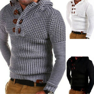 Mens-Knitted-Casual-Jumper-Sweater-Hooded-Pullover-Long-sleeve-Tops-Cardigan