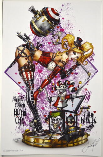 HARLEY QUINN Steampunk PARTY Print HAND SIGNED Jamie Tyndall COA Batman Joker