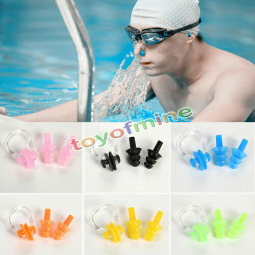 Swimming Ear Plugs Nos Clip Set Four Colours Available NEW Come with BOX