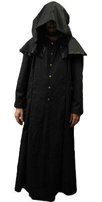 Merlins Medieval Closet/Black/Cotton/Drill Ghost/Ghoul/Robe/Coat/LARP/Cloak