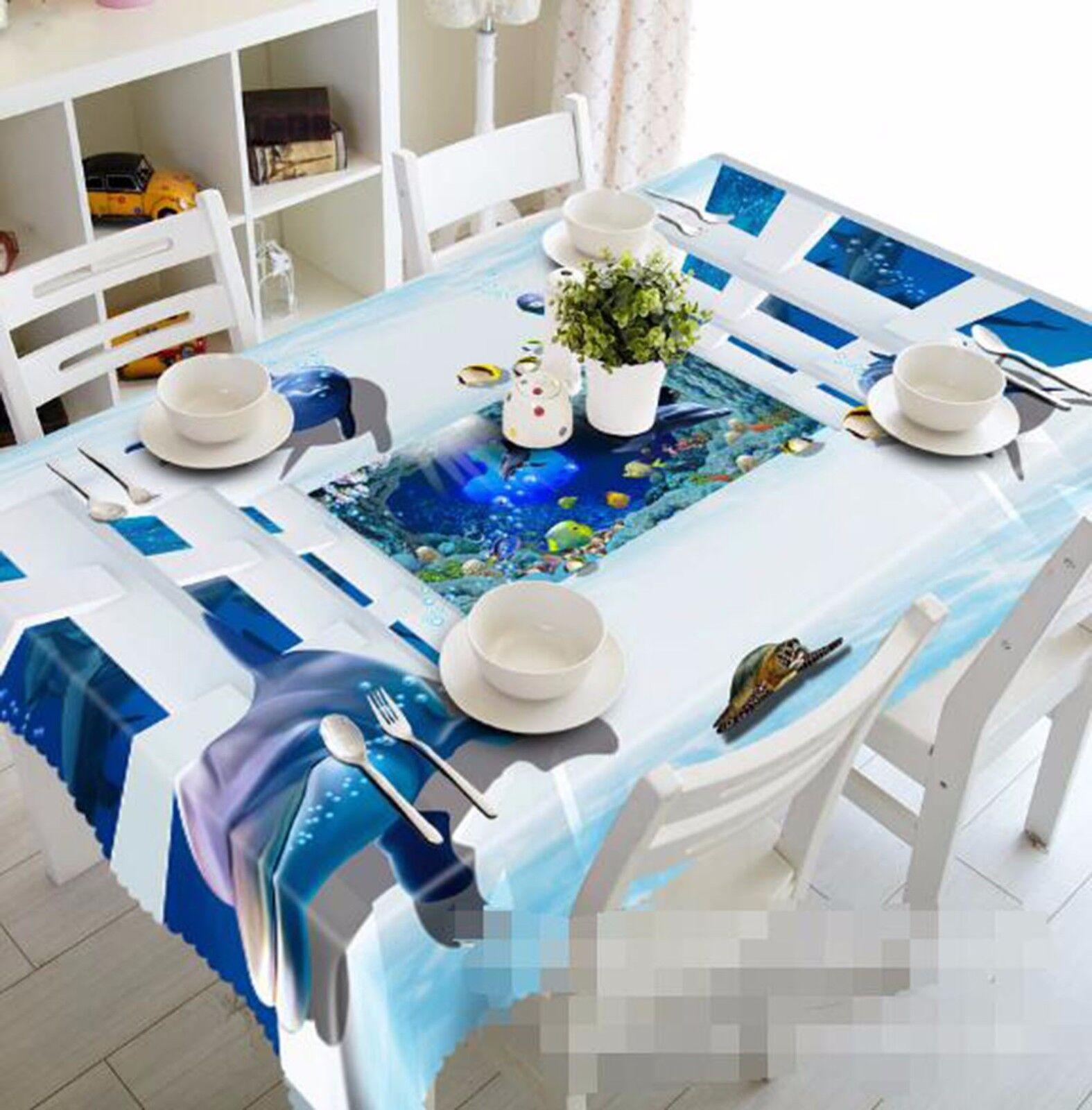 3D Dolphin 49 Nappe Table Cover Cloth fête d'anniversaire AJ papier peint Royaume-Uni Citron