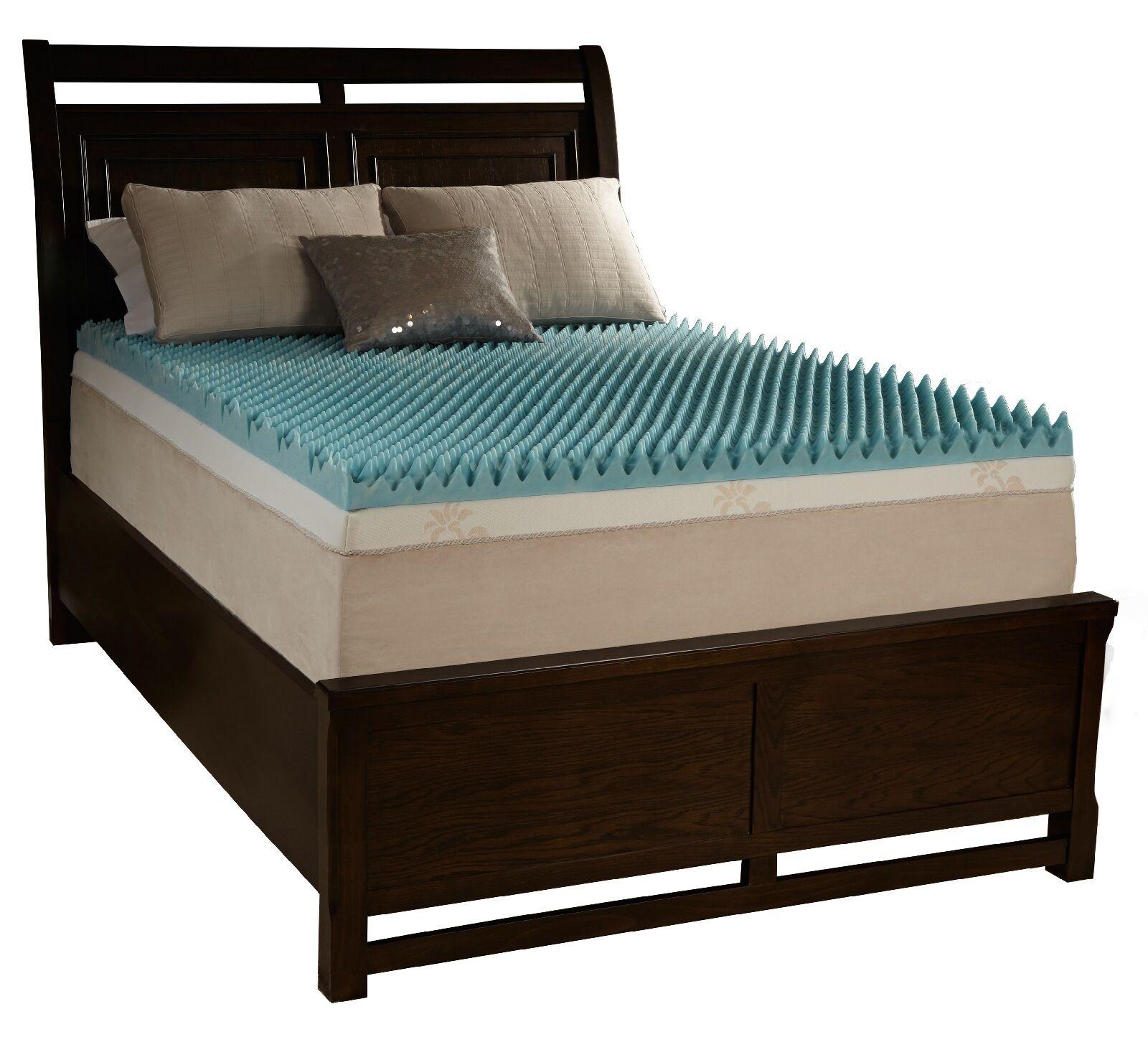 2  King Egg Crate Foam Mattress Topper Beautyrest Gel Memory Bed Cushion Pad