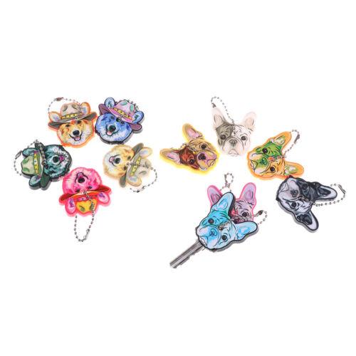 5pcs Mixed Puppy Pug Dog Key Cover Cap Keychain Key Ring Key Case Unisex Gift S!