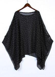 Women S Chiffon Caftan Poncho Tunic Top Cover Up Shirt Batwing Sleeve Blouse Ebay