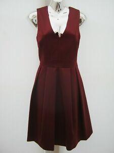 NEXT-Burgundy-Satin-Plunge-Neckline-Full-Skirt-Lined-Party-Occasion-Dress-12-NEW