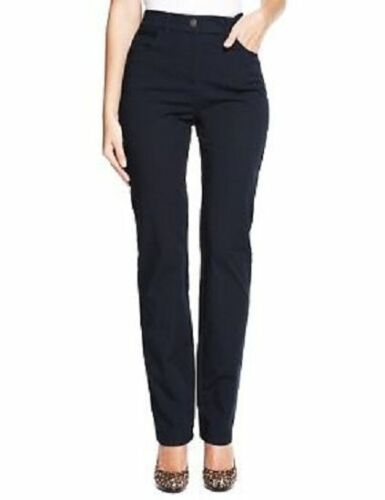 Ex M/&S Collection Womens Trousers Roma Rise Straight Legs Stretch Pant Size 6-24