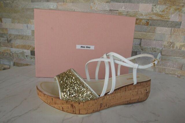 Miu Sz. 40 Platform Ankle-Strap Sandal shoes Glitter New Previously