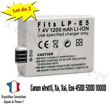Lot 2 Batteries pour CANON LP-E5 LPE5 450D 500D 1000D Rebel T1i Xs 1200mah LP-E5