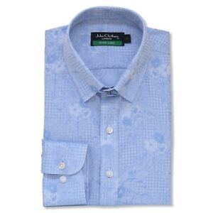 James Cotone Di Camicia Floreale Blu Colletto Bond Collare Uomo Jacquard Anello xSB44q
