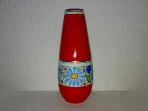 Vase-LUBIANA-Porzellan-Polen-Poland-Naives-Florales-Dekor-Goldrand-Art-Deco