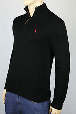 Polo Ralph Lauren Large L Black 1/2 Half Zip Sweater Red Pony NWT